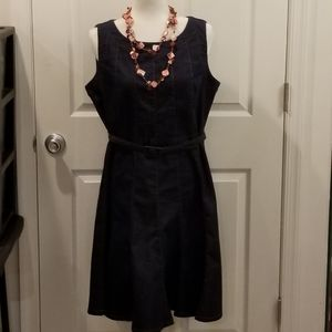 Harve Benard like new sleeveless denim belted dres